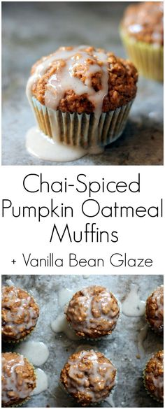 Healthy Chai-Spiced Pumpkin Oatmeal Muffins with a lovely cream cheese ...