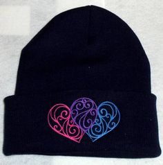 Filigree 2 Heart Beanie Winter Hat tattoo style Heart bright colors wicked good hat