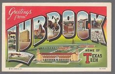 [52273] 1946 LARGE LETTER POSTCARD GREETINGS FROM LUBBOCK, TEXAS (TEXAS TECH)
