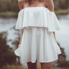 Off The Shoulder Short Sleeves Flouncing Designed Solid White Mini Dress