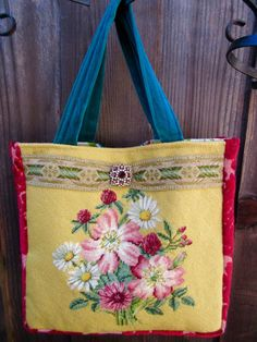 Vintage Needlepoint Flowers Red Velvet Chenille by LadidaHandbags