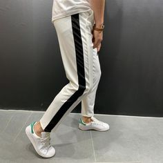 WOW! New lifestyle and streetwear clothing brand on the rise! AMAZING variety of pants and jeans designs in multiple colorways along with t-shirts, tracksuits and joggers and MUCH MORE!  Jogger Pants Side Stripes - White Regular price $54.99 USD Mens Sweatpants, Joggers, White Jogger Pants, Track Pants Mens, Casual Outfits, Men Casual, Fashion Lighting, Streetwear Fashion, Streetwear Clothing