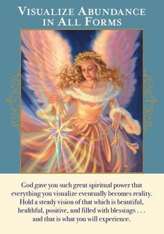 """This card reminds you that whatever you imagine is what you experience. The angels guide you to visualize your desires instead of your fears. You received this card to help you adjust your visions (including those that arise from your thoughts and feelings). Have you been imagining worst-case scenarios? The ego employs this technique as a way of trying to foresee and """"control"""" the future. Yet when we visualize the worst, we call those experiences into being. Everything that you've be..."""