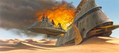 Sail Barge destruction painting by Ralph Mcquarrie