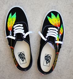 880edba2154e37 Items similar to Rasta Dream Catcher Vans - Custom Hand Painted Black Vans  Authentic Shoes