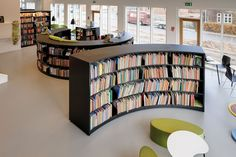 Love the half moon curve to this low shelving. BCI Library Design - for cafe overlook area? low shelving plus group seating… Low Bookshelves, Library Shelves, Book Shelves, Spa Interior, Interior Design, Library Furniture Design, School Library Design, Library Inspiration, Steel Shelving