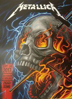 2017 Metallica - Amsterdam I Silkscreen Concert Poster by Metallica Concert, Metallica Art, Rock Y Metal, Rock Tattoo, Band Posters, Music Posters, Metal Albums, Avengers Wallpaper, Heavy Metal Music