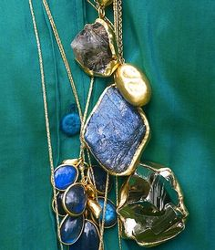 The art of layering Labradorite Amulets cord necklaces #PippaSmall #PippaSmallJewellery #EthicalJewellery #EthicallyMade #Labradorite #Amulet #AmuletNecklace #Gold #Necklace