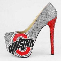 HERSTAR™ Ohio State Buckeyes Limited Edition High Heel Crystal Pumps (buckeyes apparel, cute buckeyes outfit, Ohio State Buckeyes high heels, ohio state buckeyes womens) | NBA Shoes | HERSTAR