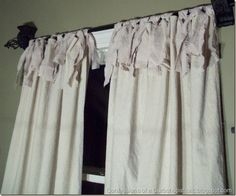 Sew some simple drop cloth curtains. | 21 Pottery Barn Inspired DIYs....Want these for my den windows.