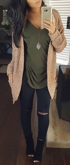 #Winter #Outfits / Beige Knit Cardigan + Olive Green