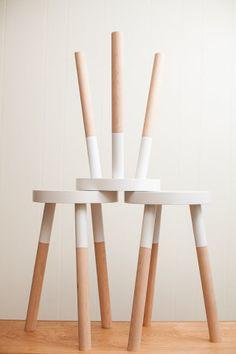 half dipped wood stools