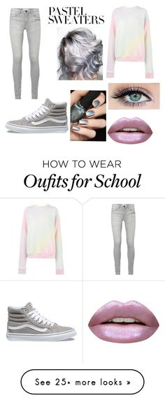 """""""High School #6"""" by neongreensoccer on Polyvore featuring Vans, The Elder Statesman, Huda Beauty and pastelsweaters"""