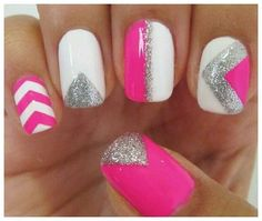 Want a fun summer manicure but think pink nail designs aren't your thing? Miss Nail Addict, listen up. Pink isn't what you remember from your very first manicure. Hot Pink Nails, Love Nails, How To Do Nails, Fun Nails, White Nails, Prom Nails, White Manicure, White Polish, Homecoming Nails
