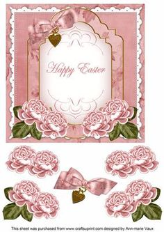 Pink Rose Happy Easter Fancy 7in Decoupage Topper on Craftsuprint - Add To Basket!