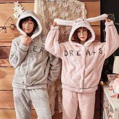 J&Q Couple Matching Pajamas Flannel Rabbit Hooded Stitch Home Pijamas Suit Letter Embroidered Men And Women Warm Pyjama Set Matching Couple Pajamas, Matching Couple Outfits, Matching Pajamas, Matching Couples, Teen Couples, Swag Outfits, Outfits For Teens, Fashion Outfits, Mens Fashion