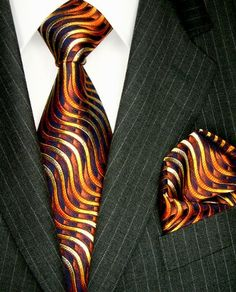LORENZO CANA Luxury Italian Pure Silk Tie Hanky Set Midnightblue Orange Wave Necktie 8424201