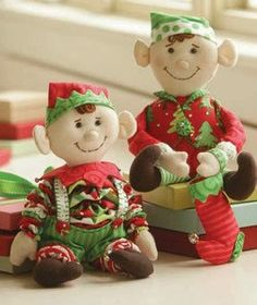 "Too cute for ""Elf On The Shelf""! Not as scary as store bought elves. PATTERN Yo Yo Christmas Elf dolls by by DorothyPrudieFabrics"