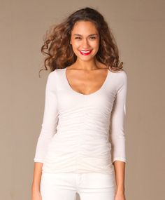 VELVET By Graham & Spencer Antonia 3/4 Sleeve V Neck Solid Tee Off White S $128 #VelvetbyGrahamSpencer #Top #Casual