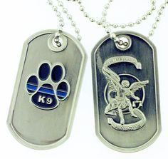 Thin Blue Line K9 Paw St Michael Brushed Steel Dog Tag >>> You can find more details by visiting the image link.