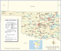 Reference Map Of Oklahoma Showing The U State Of Oklahoma With The State Capital Oklahoma City Major Cities Populated Places Highways And More