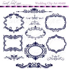 NAVY BLUE Digital Frames Scrapbook Border by MSweetboutique, $5.99