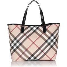 Burberry Checked Tote ($450) ❤ liked on Polyvore featuring bags, handbags, tote bags, purses, borse, burberry, purse tote, burberry tote, burberry handbags and man bag