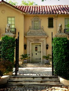 Spanish style home with great entry created by interesting portal, door, and lighting. Spanish Style Homes, Spanish House, Spanish Colonial, Spanish Revival, Spanish Architecture, Architecture Details, Modernisme, Hacienda Style, Mediterranean Homes