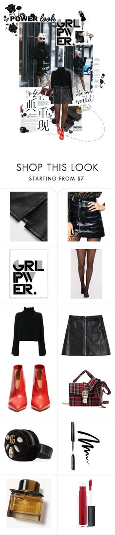 """""""Power Look: Leather & Fishnet tights"""" by solespejismo on Polyvore featuring WithChic, Stupell, Golden Goose, Isabel Marant, Gucci, Bobbi Brown Cosmetics, Burberry, John Lewis and McQ by Alexander McQueen"""