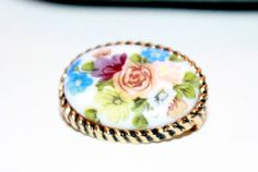 Vintage Milk Glass Brooch /  Painted Floral by AntiqueAlchemyShop, $8.00