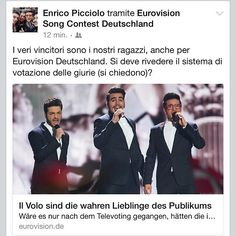"""#Repost from @enricopicciolo with @ig_saveapp. Even Eurovision Deutschland affirms Il Volo is the real winner. """"Jury voting system needs to be changed?"""". We are the heroes, not Mans! #ilvolo #grandeamore #eurovision2015 #eurovision #escita"""