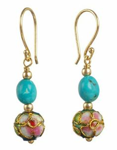 Gold Plated Sterling Silver Stabilized Turquoise Nugget and Cloisonne Bead Drop Earrings Amazon Curated Collection. $30.00. The natural properties and composition of mined gemstones define the unique beauty of each piece. The image may show slight differences to the actual stone in color and texture. Do not use cleaning solvent.  Gently wipe with a clean, soft cloth.. Gemstones may have been treated to improve their appearance or durability and may require special care