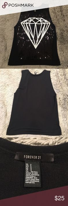 Forever 21 Black Sequin Diamond Dressy Tank Top Not just a regular tank.. definitely a going shirt... never worn... but no tags... front a little sheer but no camisole needed... back is more cotton feel... runs big for a small Forever 21 Tops Tank Tops