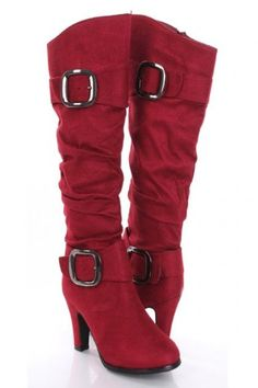 Fall Booties Collection    Wine Red Faux Suede Slouchy Buckled Heel Boots  - #Booties https://talkfashion.net/shoes/booties/fall-booties-collection-wine-red-faux-suede-slouchy-buckled-heel-boots/