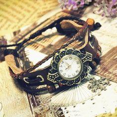 Vintage wrist watch — Wristwatch Handmade Snow Pendant Vintage Ladies Girls Womens Mens Leather Quartz watch(GA0051) $19.49