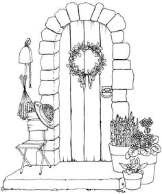 Front Door – Plus lots of other coloring pages, including a neat wishing well. Front Door – Plus lots of other coloring pages, including a neat wishing well. Colouring Pages, Adult Coloring Pages, Coloring Books, Doodle Art, Doodle Images, Art Sketches, Art Drawings, Art Du Croquis, Inspiration Art