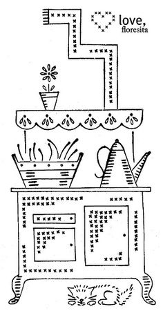 Great stove embroidery pattern from Vintage Transfer Finds. Check out the little cat sleeping under it! I think I need this on a tote bag.