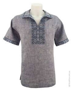 "Linen embroidery imitating ""jeans"" with pattern ""Zakarpatye"" Viking Tunic, Viking Shirt, African Shirts, African Wear, Mens Hottest Fashion, Mens Fashion, Muslim Fashion, Fashion Wear, Kurta Designs"