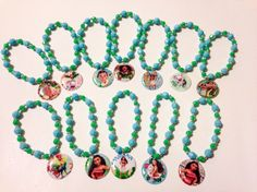 This is for a set of 12x Moana themed party favor bracelets. Each bracelet comes with a different charm as pictured, these are handmade and made to order, will usually ship out within 2 days or less once order is placed, these are great as party favors, birthday game prize giveaways, they will be a great addition for a Moana theme party. These are not recommended for children 3 years and younger since it contains small beads.