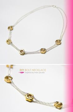 DIY Bolt Necklace: Inspired by Marc Jacobs DIY Jewelry DIY Necklace