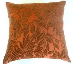 Dk Peach quilted Pillow cover w/ Velvet Floral Swirls - 20 x 20- Handmade - Fall- Designer fabric on Both Sides-September finds- Home Decor