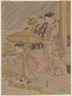 Suzuki Harunobu (Japanese, 1725–1770). Viewing Iris in the Rain, 1764–70. Japan. The Metropolitan Museum of Art, New York. H. O. Havemeyer Collection, Bequest of Mrs. H. O. Havemeyer, 1929 (JP1649) #iris #flower