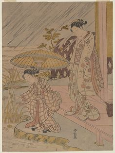 Suzuki Harunobu (Japanese, 1725–1770). Viewing Iris in the Rain, 1764–70. Japan. The Metropolitan Museum of Art, New York. H. O. Havemeyer Collection, Bequest of Mrs. H. O. Havemeyer, 1929 (JP1649) #iris #flower