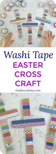 Washi Tape Cross - A Simple and Beautiful Easter Activity! Bible Craft   Preschool   Elementary school   Christian Homeschool