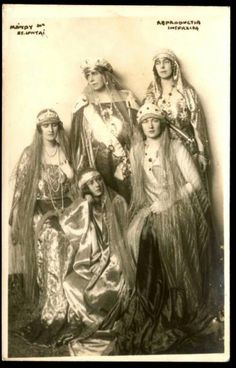 Queen Marie of Romania, wearing the sapphire kokoshnic of Grand Duchess Vladimir, with her daughters, who have a nice collection of tiaras between them. You've just got to love Queen Marie. Queen Mary, King Queen, Romanian Royal Family, Casa Real, Royal Jewelry, Royal House, Kaiser, Tiaras And Crowns, Crown Jewels