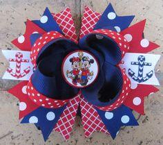Disney Cruise Line WONDER FANTASY DREAM Magic Ship Minnie Mouse Nautical Mickey Mouse Custom Boutique Hair Bow