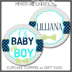 Personalized Aqua Lil Man Bowtie Cupcake Toppers or Gift Tags in Aqua, Lime Green and Navy Blue with Bowties by HeadsUpGirls, $8.00