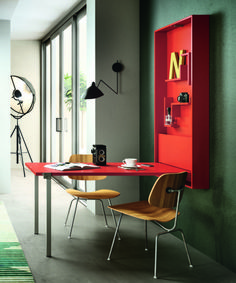 dd space in your kitchen or dining area with this fold down table. Hidden storage revealed when table is extended. Kitchen Desk Areas, Kitchen Desks, Diy Kitchen, Folding Furniture, Furniture Design, Foldable Dining Table, Living Room Decor, Living Spaces, Fold Down Table