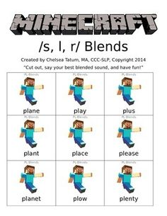 This packet includes a variety of /s, r, l/ blends flashcards based on the popular game Minecraft! Cut out and incorporate into therapy, or send home individual sheets as homework. Articulation Therapy, Articulation Activities, Speech Therapy Activities, Phonics, Speech Language Therapy, Speech Language Pathology, Speech And Language, L Blends, Phonological Awareness