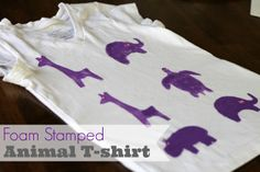 t-shirt animal craft ideas handprint | Foam Stamped Animal T-shirt from Pitter and Glink